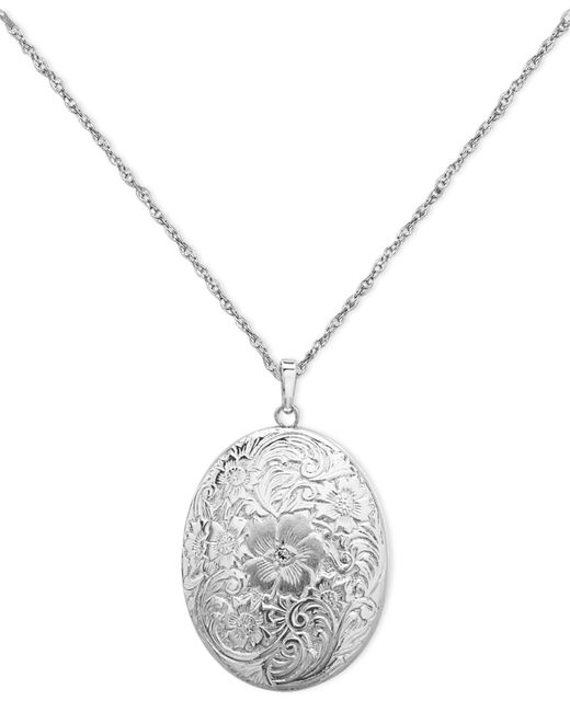 Macy's | Metallic Sterling Silver Necklace, Four Photo Engraved Locket | Lyst