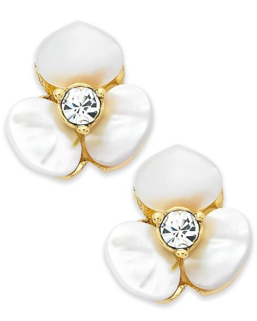 kate spade new york | Metallic Earrings, Gold-tone Cream Disco Pansy Flower Stud Earrings | Lyst