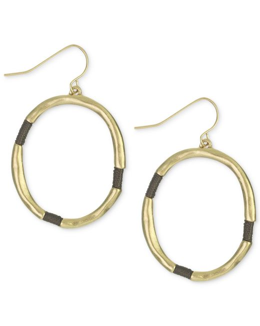 The Sak | Metallic Earrings, Gold-tone Brown Thread-wrapped Hoop Earrings | Lyst