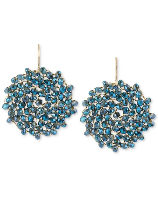 Kenneth Cole | Metallic Earrings, Gold-tone Woven Faceted Bead Round Drop Earrings | Lyst