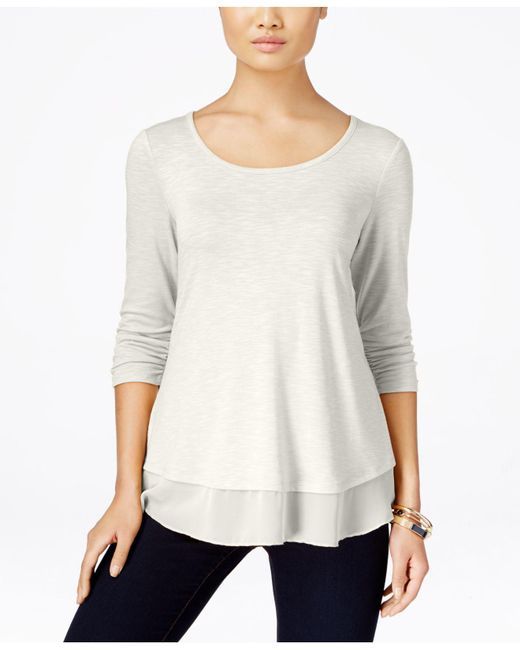 Style & Co. | White Chiffon-hem Three-quarter-sleeve Top | Lyst