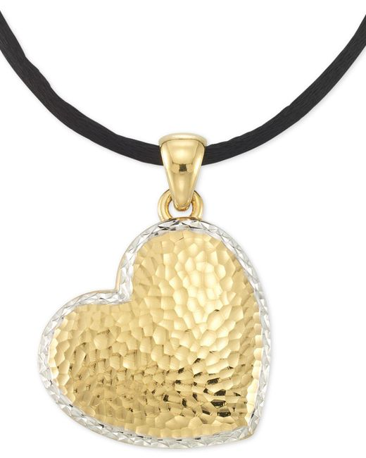 """Signature Gold - Metallic Tm Textured Reversible Silk Cord Heart 18"""" Pendant Necklace In 14k Gold Over Resin Core - Lyst"""