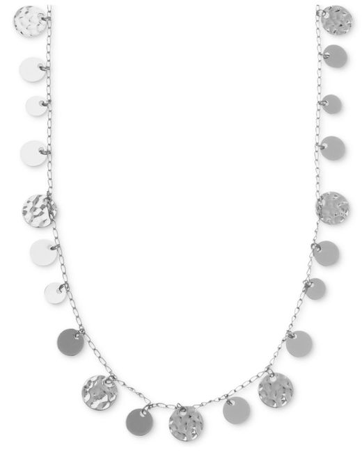 Nine West | Metallic Necklace, Silver-tone Hammered Disc Strand Necklace | Lyst