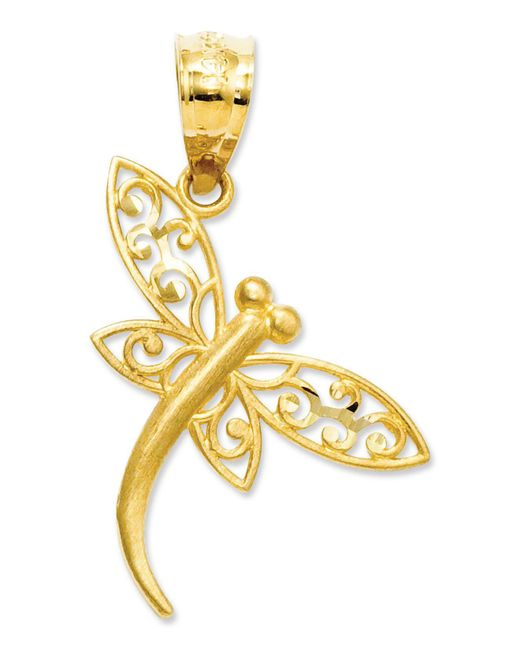Macy's - Metallic 14k Gold Charm, Satin Dragonfly Charm - Lyst