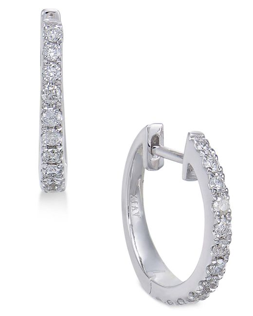 Macy's | Metallic Diamond Hoop Earrings (1/3 Ct. T.w.) In 14k White Gold | Lyst