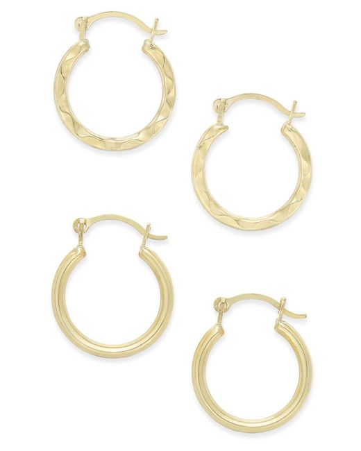 Macy's - Metallic Duo Set Of Small Round Hoop Earrings In 10k Gold - Lyst