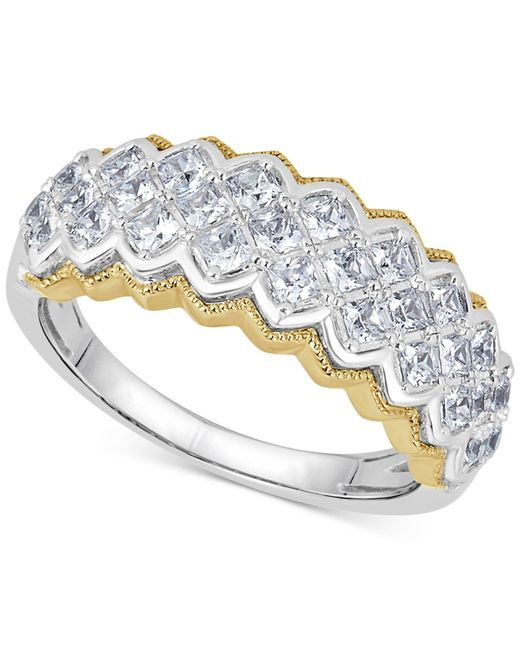 Macy's - Metallic Diamond Two-tone Pyramid Band (1 Ct. T.w.) In 14k Gold & White Gold - Lyst