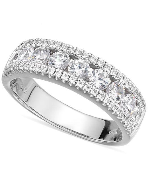 Arabella | Metallic Sterling Silver Swarovski Zirconia Three-row Ring (2-1/10 Ct. T.w.) | Lyst