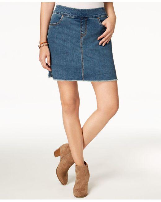 Style & Co. Blue Petite Pull-on Frayed-hem Skort, Created For Macy's