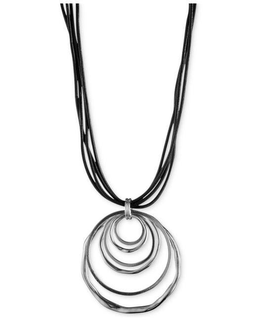 Anne Klein   Metallic Silver-tone Orbital Pendant Necklace   Lyst