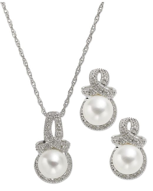 Macy's | White Cultured Freshwater Pearl (7mm) And Diamond Accent Necklace And Earring Set In Sterling Silver | Lyst