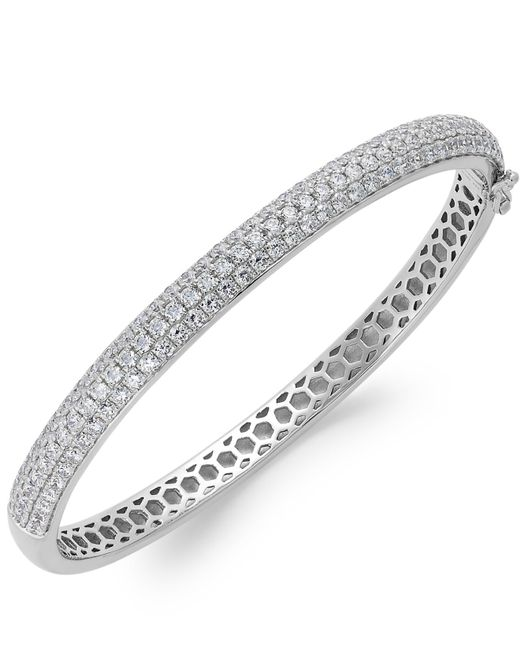 Arabella | Metallic Swarovski Zirconia Pave Bangle Bracelet In Sterling Silver (5 Ct. T.w.) | Lyst