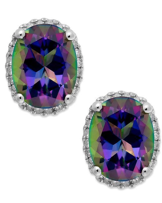 Macy's | 14k White Gold Mystic Topaz (4 Ct. T.w.) And Diamond (1/6 Ct. T.w.) Stud Earrings | Lyst