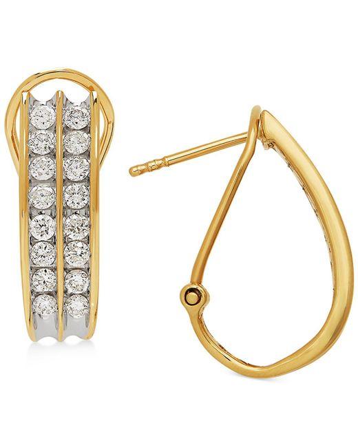 Macy's - Metallic Diamond Hoop Earrings (1 Ct. T.w.) In 14k White Gold Or Gold - Lyst