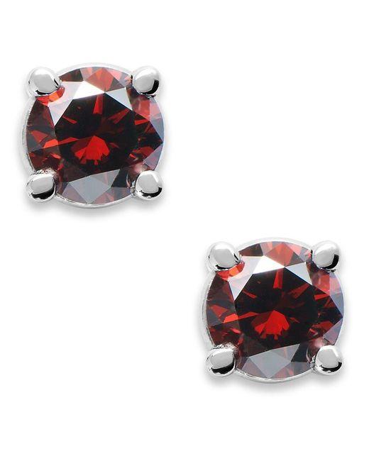 Macy's   10k White Gold Red Diamond Round Stud Earrings (1/4 Ct. T.w.)   Lyst