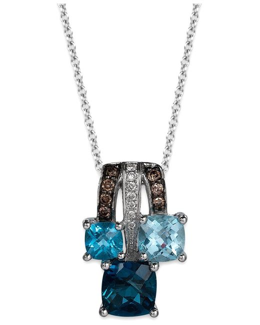 Le Vian | Blue Topaz (2 Ct. T.w.) And Diamond Accent (1/10 Ct. T.w.) Pendant Necklace In 14k White Gold | Lyst