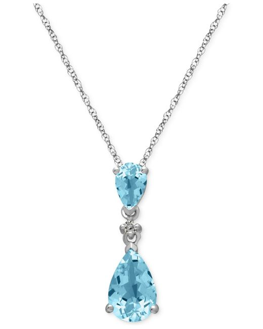 Macy's | Metallic Aquamarine (1-1/2 Ct. T.w.) And Diamond Accent Pendant Necklace In 14k White Gold | Lyst