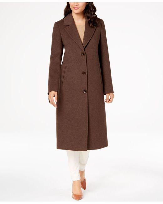 Jones New York - Brown Notch-collar Coat - Lyst