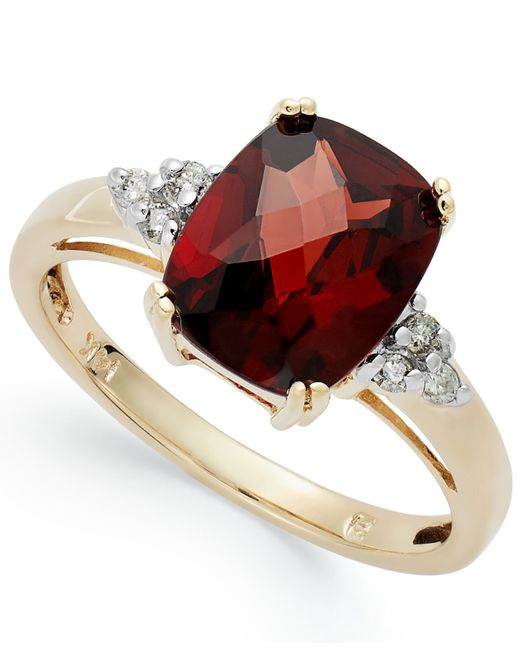 Macy's   Red 14k Gold Garnet (3-1/2 Ct. T.w.) And Diamond (1/10 Ct. T.w.) Ring   Lyst