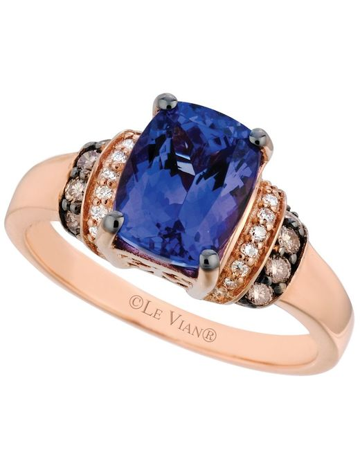 le vian tanzanite 2 ct t w and diamond 1 5 ct t w