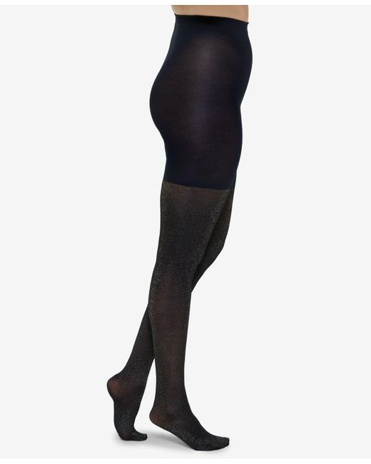 092e0e4aa6 Lyst - Spanx ® Metallic Shimmer Mid-thigh Shaping Tights in Black ...