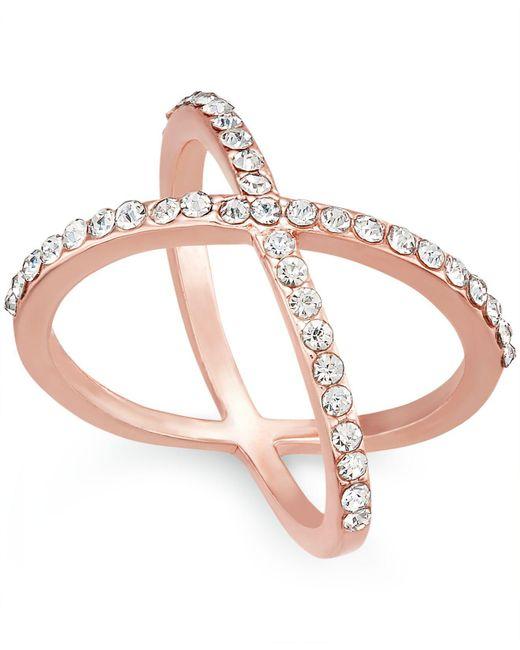 INC International Concepts - Metallic Rose Gold-tone Criss Cross Rhinestone Ring - Lyst