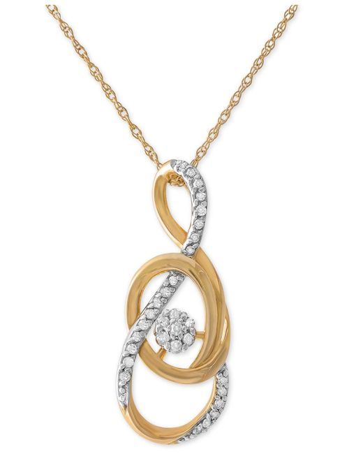 Macy's - Metallic Diamond Swirl Pendant Necklace (1/10 Ct. T.w.) In 10k Gold - Lyst