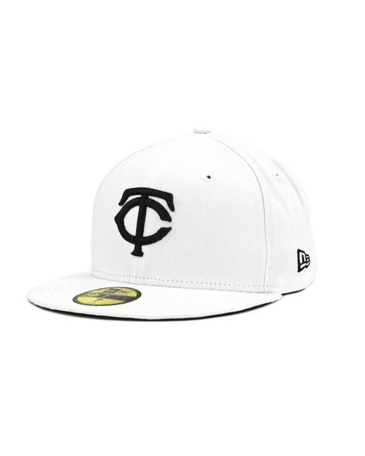 KTZ | Minnesota Twins Mlb White And Black 59fifty Cap for Men | Lyst
