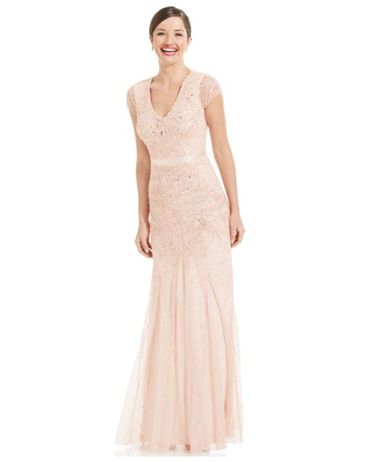 Adrianna Papell | Pink Cap-sleeve Embellished Gown | Lyst