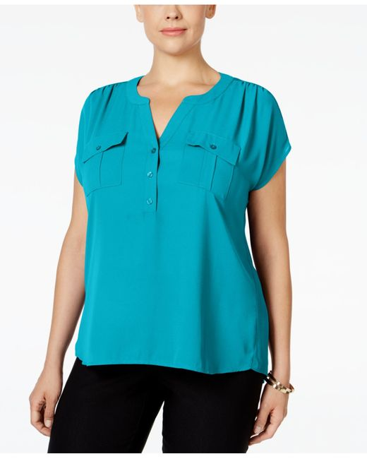 INC International Concepts | Blue Plus Size Mixed-media Utility Shirt, Only At Macy's | Lyst