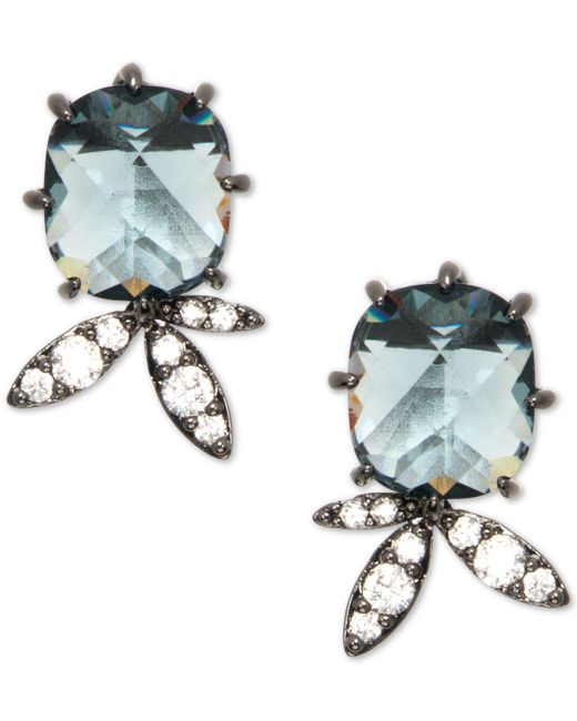 Jenny Packham Blue Hematite-tone Crystal & Stone Stud Earrings