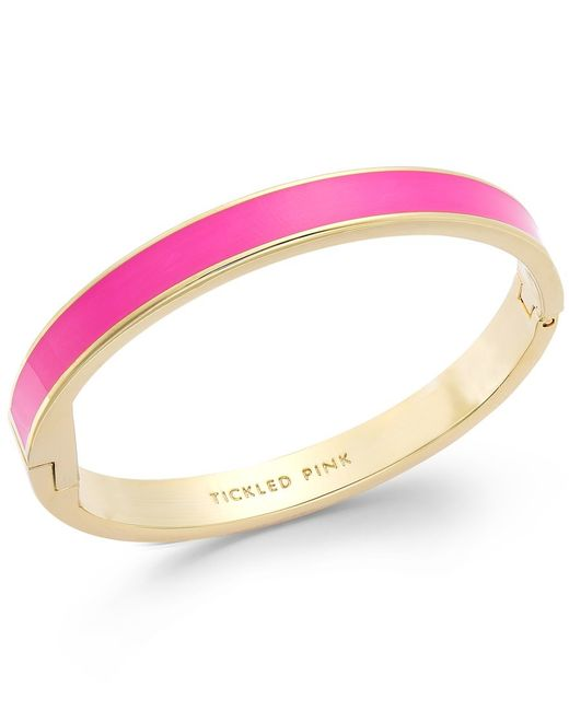 kate spade new york | Gold-tone Tickled Pink Idiom Bangle Bracelet | Lyst