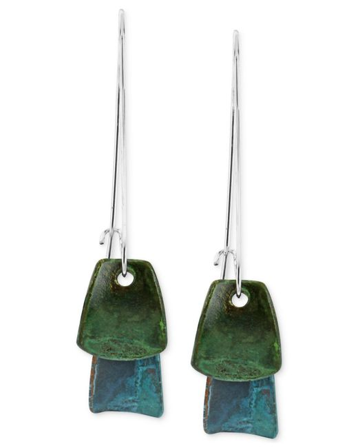Robert Lee Morris | Metallic Silver-tone Blue And Green Layered Patina Drop Earrings | Lyst
