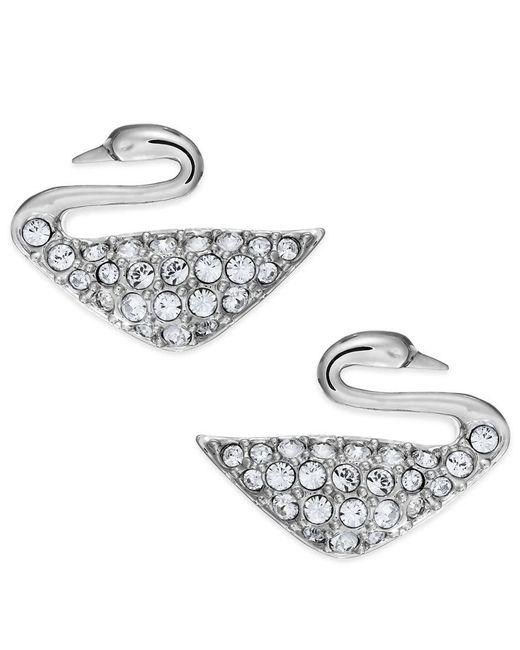 Swarovski | Metallic Rhodium-plated Crystal Swan Stud Earrings | Lyst
