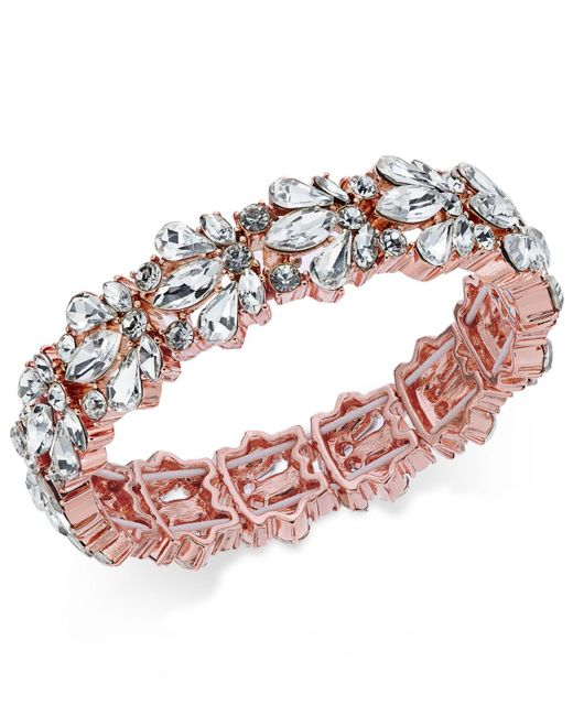 Charter Club - Pink Crystal Stone Stretch Bracelet - Lyst