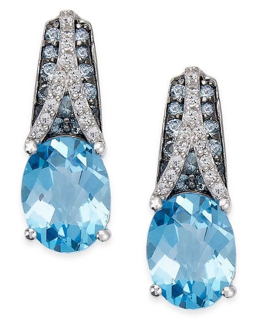 Macy's | Metallic London Blue Topaz (5-1/2 Ct. T.w.) And White Topaz (1/8 Ct. T.w.) Drop Earrings In Sterling Silver | Lyst