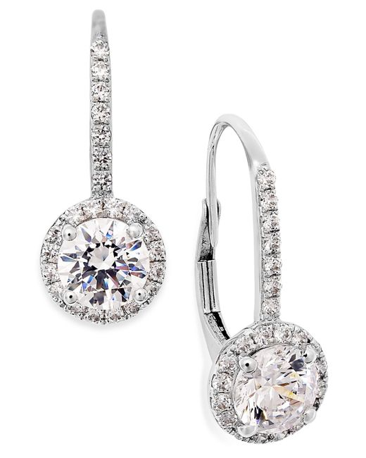 Arabella | Metallic Cubic Zirconia Leverback Earrings In 14k White Gold (3 Ct. T.w.) | Lyst