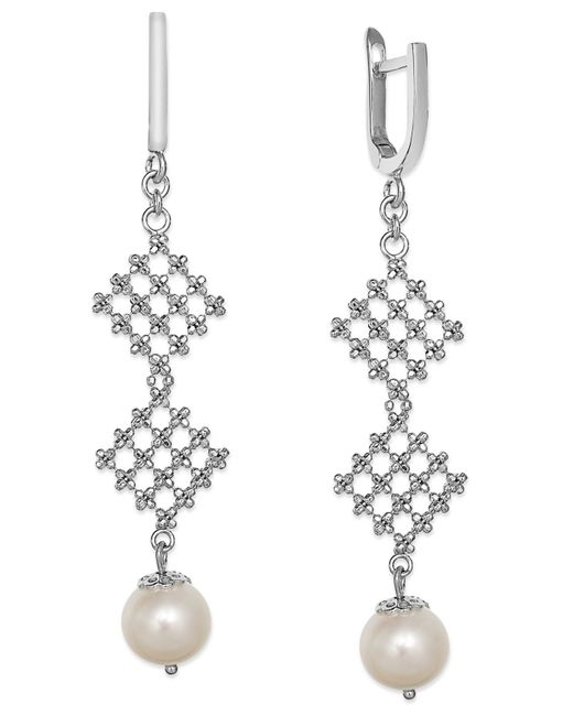 Effy Collection | Metallic Pearl Lace By Effy Cultured Freshwater Pearl Diamond-shaped Drop Earrings In Sterling Silver (8-1/2mm) | Lyst