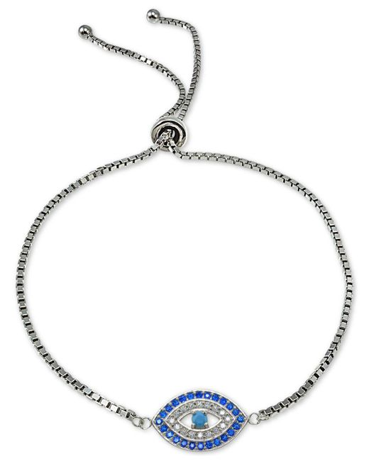 Giani Bernini - Metallic Cubic Zirconia Evil Eye Slider Bracelet In Sterling Silver, Created For Macy's - Lyst