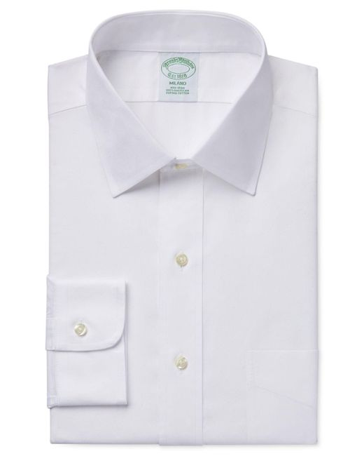 Brooks Brothers White Extra Slim-fit Non-iron Pinpoint Solid Dress Shirt for men
