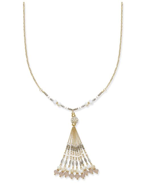 INC International Concepts | White Gold-tone Multi-bead & Tassel Pendant Necklace, | Lyst