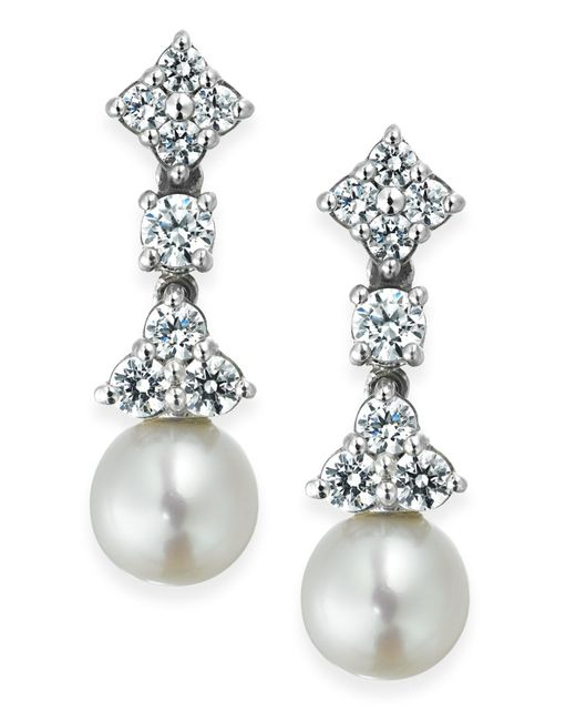 Arabella | Metallic Cultured Freshwater Pearl (7mm) And Swarovski Zirconia (1-5/8 Ct. T.w.) Drop Earrings In Sterling Silver | Lyst