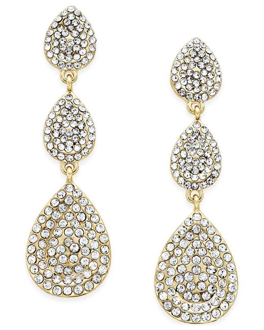 INC International Concepts   Metallic Gold-tone Pave Triple Teardrop Earrings   Lyst