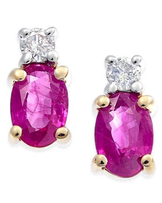 Macy's - Red Ruby (1-1/5 Ct. T.w.) & Diamond (1/10 Ct. T.w.) Stud Earrings In 14k Gold - Lyst