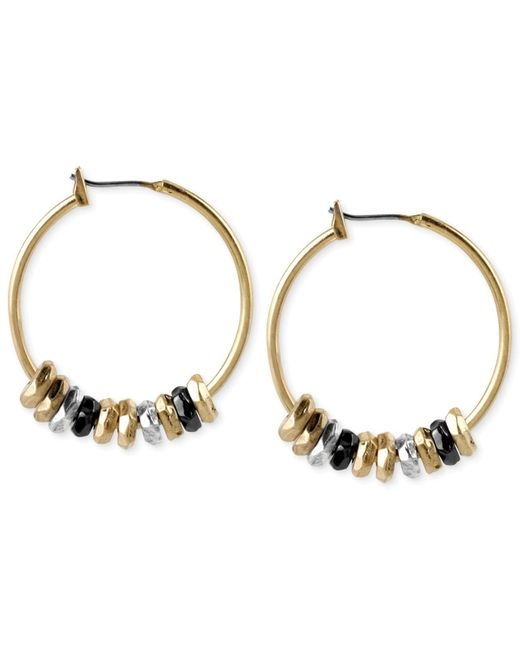 Kenneth Cole | Gold-tone Metallic Accent Hoop Earrings | Lyst