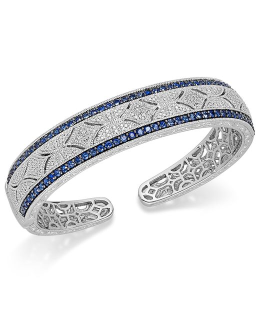 Macy's | Blue Sapphire (2-3/8 Ct. T.w.) And Diamond (1/10 Ct. T.w.) Antique Cuff Bracelet In Sterling Silver | Lyst