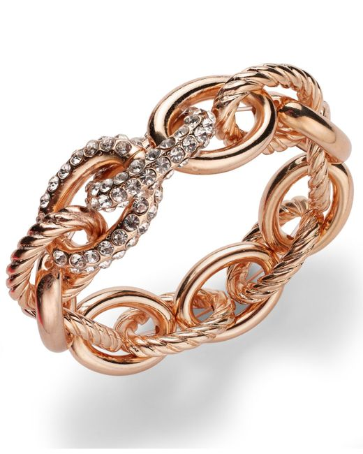 INC International Concepts   Metallic Rose Pave Link Stretch Bracelet   Lyst