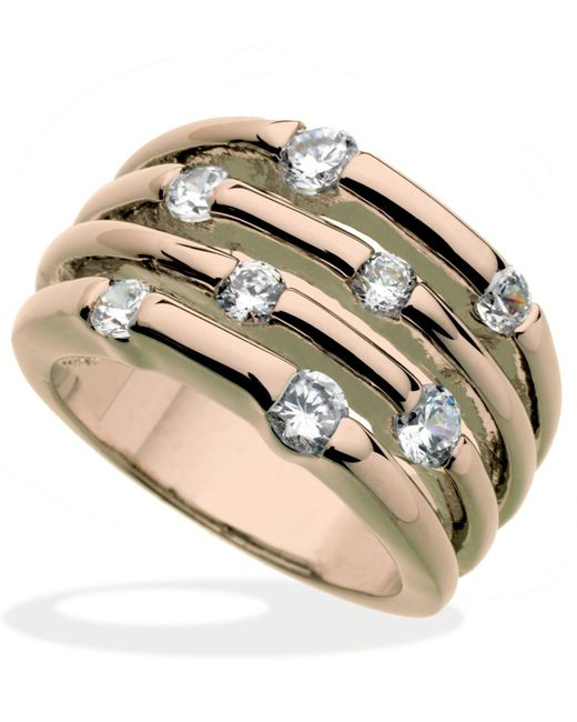 Guess   Pink Rose Gold-tone Multirow Crystal Stone Ring   Lyst