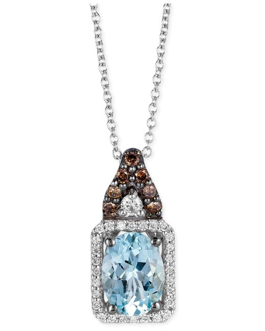 Le Vian | Blue Aquamarine (1 Ct. T.w.) And Diamond (1/5 Ct. T.w.) Square Pendant Necklace In 14k White Gold | Lyst