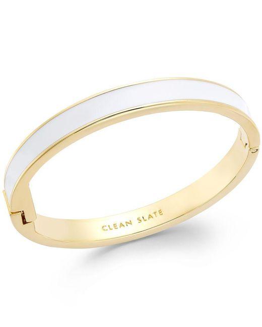 kate spade new york | Gold-tone White Clean Slate Idiom Bangle Bracelet | Lyst